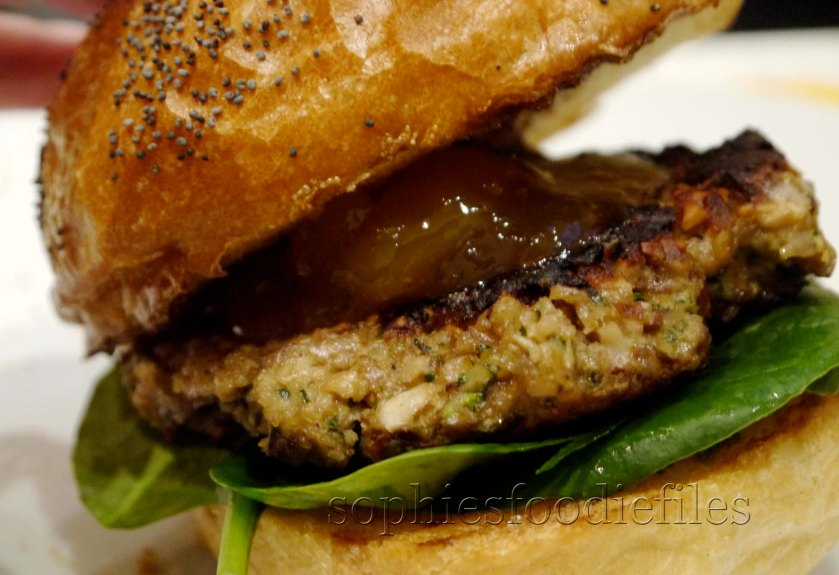 Vegetarian mixed nut & mushrooms burger with mango chutney! :)