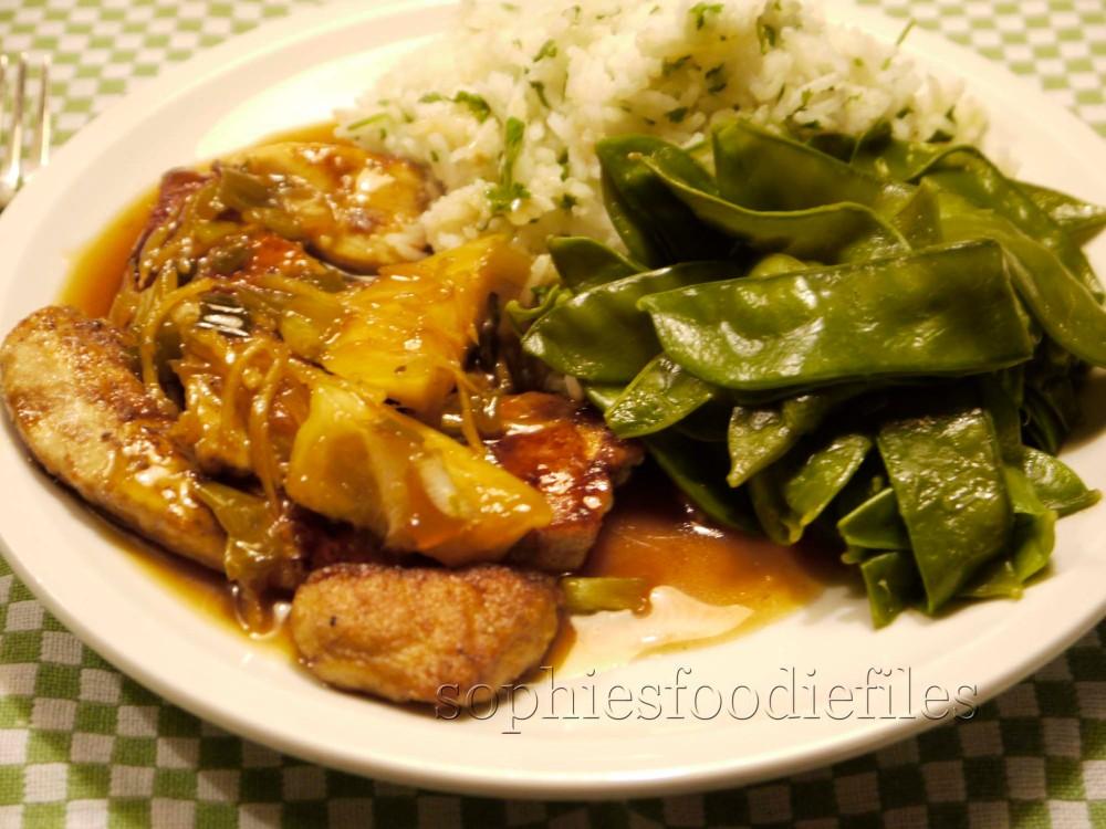 Sophie's gluten free lemon chicken, served with coriander Basmati rice & sugar peas (1/2)