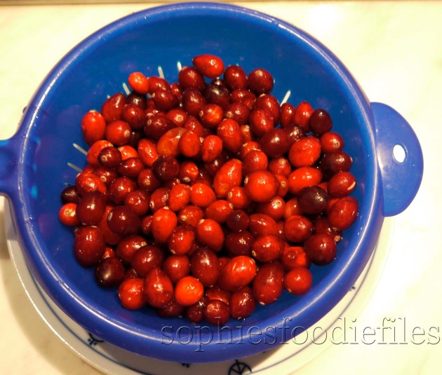 Yummie cranberries for the cranberry, port, orange & cinnamon sauce!