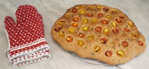 Wholemeal Spelt foccacia with home-grown cherry tomatoes  & rosemary