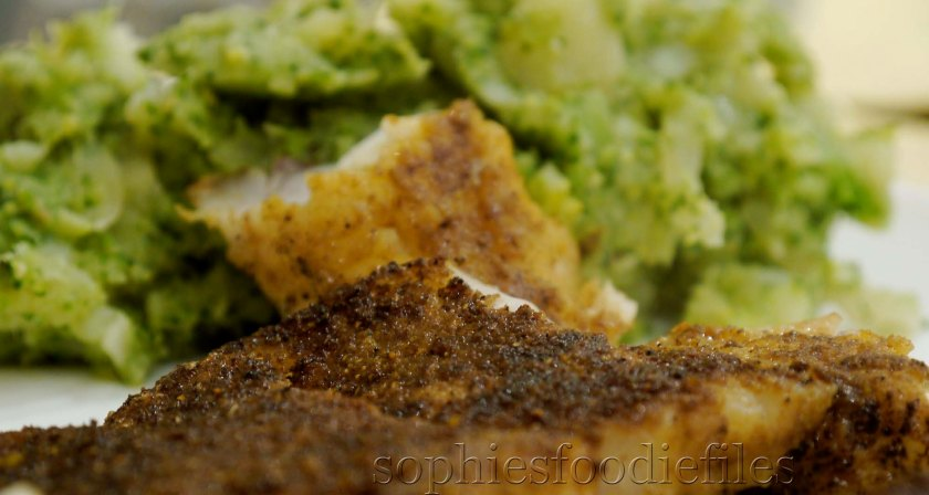 Sophie's dry spiced rub whiting fish with spiced broccoli & potato mash!