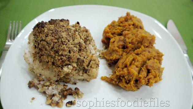 Hazelnut crusted redfish with a purple carrotv & sweet potato mash!