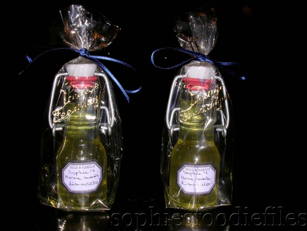 Home-made limoncello, lovely wrapped!