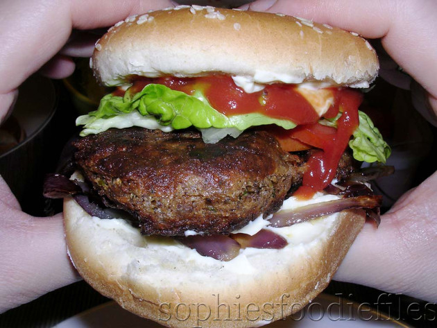 Sophie's vegetarian  spiced bean burgers! (filled with beans & Gruyère cheese!