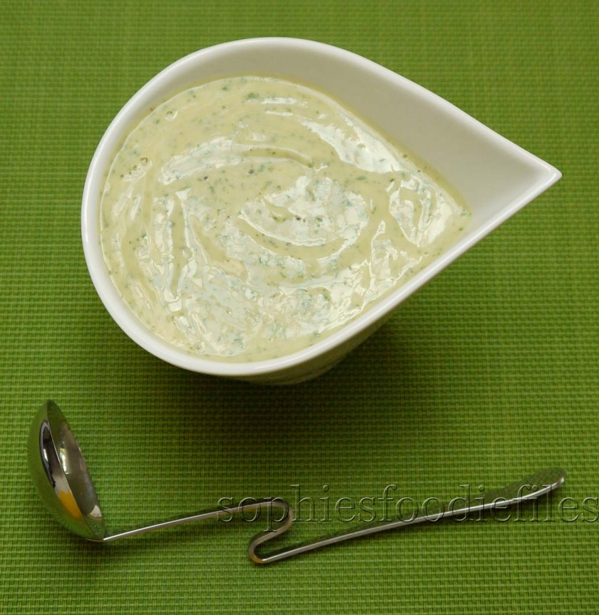 Tasty vegan & Gf avocado, yoghurt & fresh coriander orange dressing! It looks like real mayo with herbs, doesn't it???
