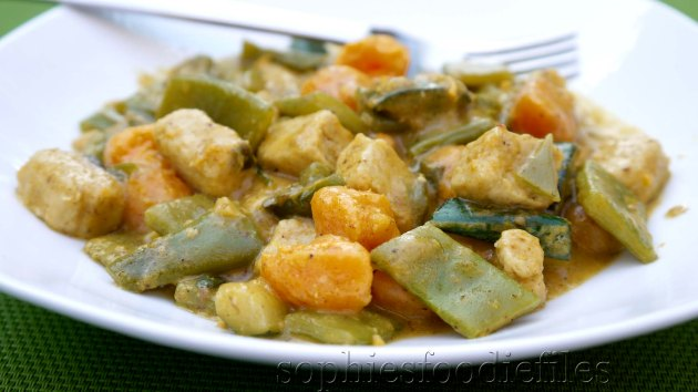 A delightful mixed veggies, coconut, quorn stew, all spiced up!