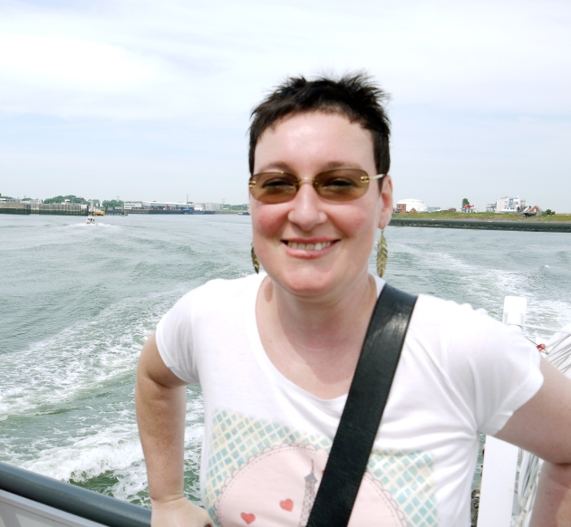 Me, on a ferry, at the Westerschelde, Breskens, The Netherlands!