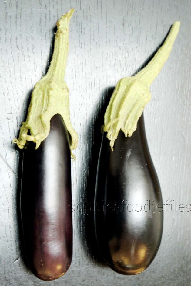 Yummy home grown aubergines! Young, pretty & tasty too! :)