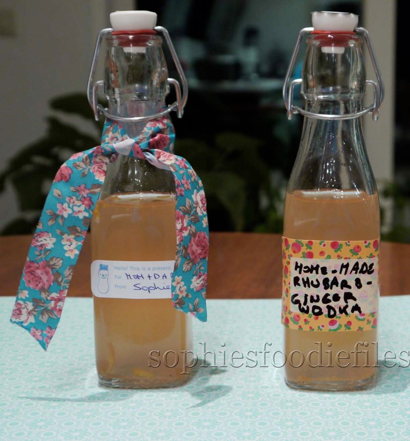 Tasty rhubarb-ginger-orange vodka drinkable gifts!
