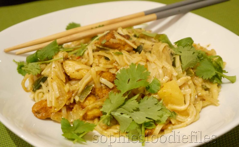 Sophie's tasty easy chicken curry with Gf brown rice noodles!