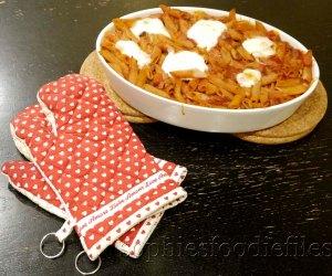 A vegetarian comfort spelt pasta bake with Belgian Buffalo Mozzarella!