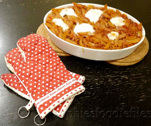 A tasty vegetarian comfort spelt pasta bake with Belgian Buffalo Mozzarella!