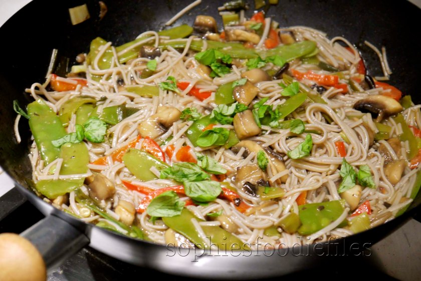 100% buckwheat noodles with veggies stir-fry!