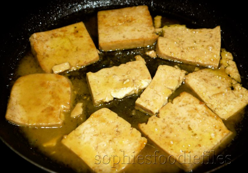 Tha marinated tofu & afterwards brushed with the orange & wine reduction! Yummm!
