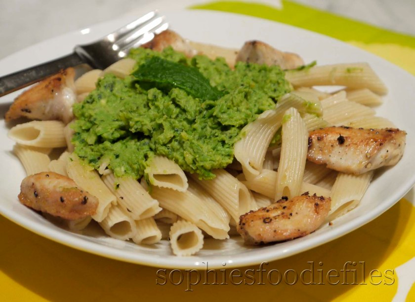 A tasty minted pea spread spelt penne pasta!