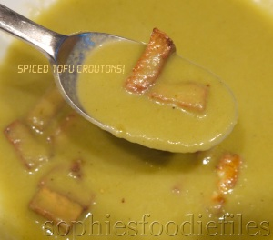 Seductive celery soup topped with tofu croutons! :)