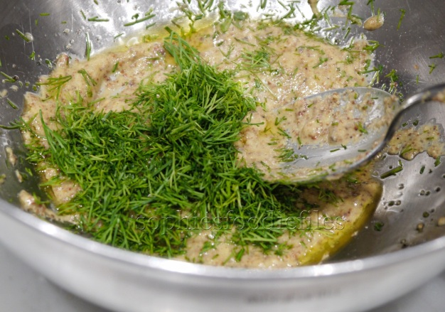 Making the mustard-dill glaze!