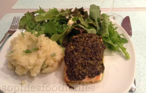 Fresh chervil spread topped salmon with mixed salad & a lemon spring onion mash!