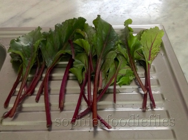 red beetroot leaves a stalks!