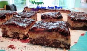 Raw vegan Gluten-free blackberry caramel nougat bars!