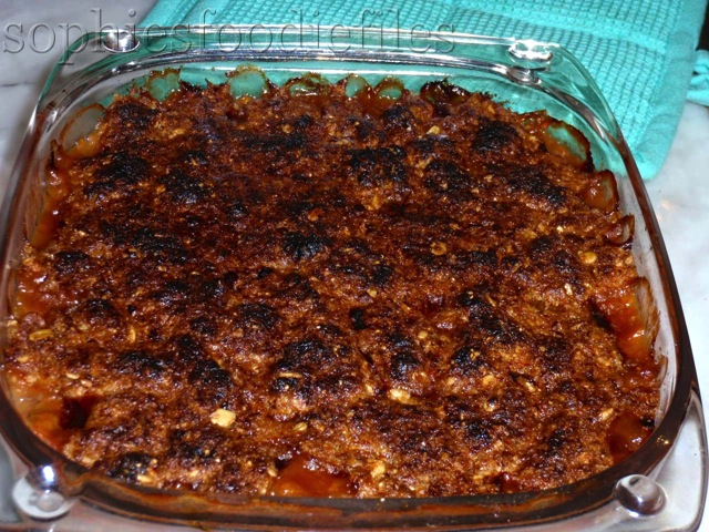 Hot crumble coming out of the oven!