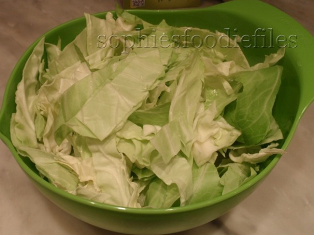shredded white cabbage leaves