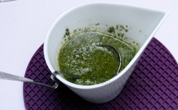 Fresh chervil pesto dressing!