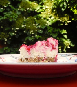 Vegan red currant cheesecake bars!
