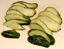 sliced salted gherkins!