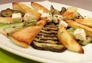 Vegetarian marinated grilled courgettes & aubergines dinner