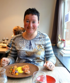 Me, enjoying some excellent food in Kok au vin, Bruges!