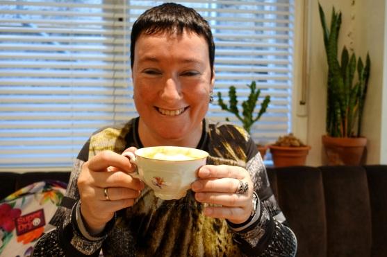 Me enjoying good cafe latte with soy milk!